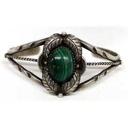 Vintage Navajo Old Pawn Malachite Bracelet