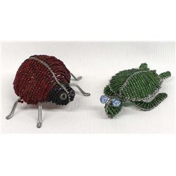 Beaded Wire Turtle and Ladybug