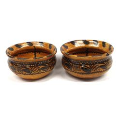 Pair of Mexican Redware Pottery Bowls