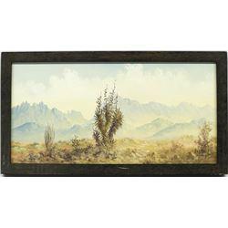 Original Desert Landscape Painting, Lester Hughes