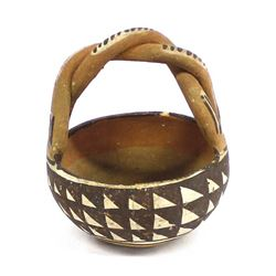Historic Early 1930s Isleta Pottery Basket