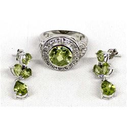 Sterling Silver Peridot Earrings and Ring, Size 8