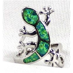 Sterling & Lab Created Opal Lizard Ring, Size 7
