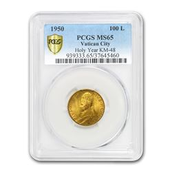 1950 Vatican City Gold 100 Lire Pope Pius XII MS-65 PCGS