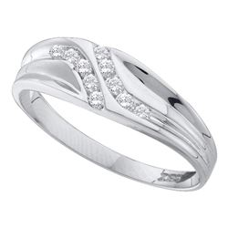 10kt White Gold Round Diamond Heart Pretzel Ring 1/8 Cttw