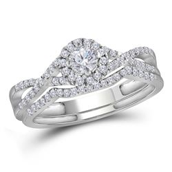14k White Gold Round Diamond Teardrop Cluster 3-Piece Bridal Wedding Engagement Ring Set 1/2 Cttw
