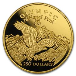 1996 Cook Islands Gold $250 Olympic National Park BU