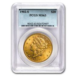 1902-S $20 Liberty Gold Double Eagle MS-63 PCGS