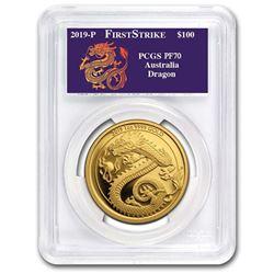 2019 Australia 1 oz Gold Dragon PR-70 PCGS (FS)