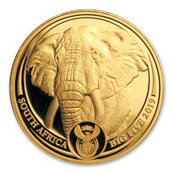 2019 South Africa 1 oz Proof Gold Big Five Elephant