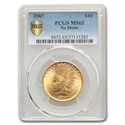 1907 $10 Indian Gold Eagle MS-65 PCGS (No Motto)