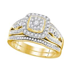 14kt Two-tone Rose Gold Mens Round Diamond Wedding Band Ring 1/5 Cttw