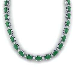 34.11 ctw Emerald & Diamond Halo Necklace 10K White Gold