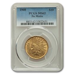 1908 $10 Indian Gold Eagle MS-62 PCGS (No Motto)
