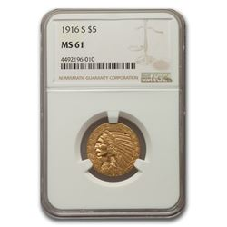 1916-S $5 Indian Gold Half Eagle MS-61 NGC