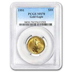 1991 1/4 oz Gold American Eagle MS-70 PCGS