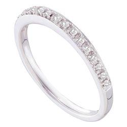 10kt White Gold Round Diamond Striped Openwork Band Ring 1/20 Cttw