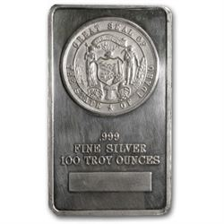 100 oz Silver Bar - Great Seal of the State of Idaho
