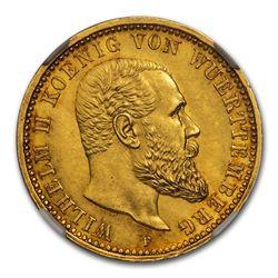1913 German States Wurttemberg Gold 10 Mark MS-64+ NGC
