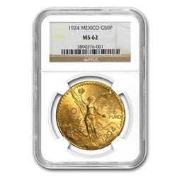 1924 Mexico Gold 50 Pesos MS-62 NGC
