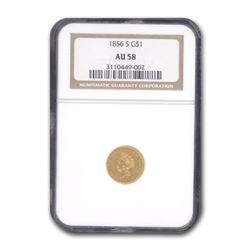 1856-S $1 Indian Head Gold AU-58 NGC
