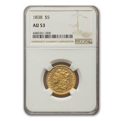 1838 $5 Gold Classic Head Half Eagle AU-53 NGC