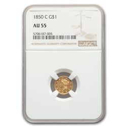 1850-C $1 Liberty Head Gold AU-55 NGC