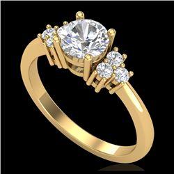 2.26 ctw Intense Fancy Yellow Diamond Art Deco Ring 18K Rose Gold