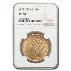 1873 $20 Liberty Gold Double Eagle Open 3 AU-58 NGC