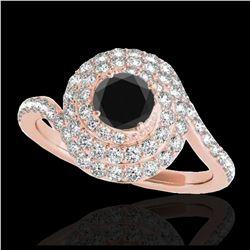 1.14 ctw VS/SI Diamond Solitaire Art Deco Stud Necklace 18K White Gold