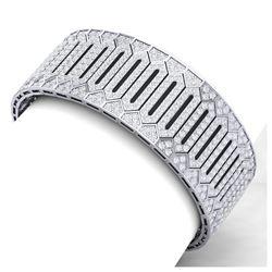 7.76 ctw Blue Sapphire & Diamond Ring 10K White Gold