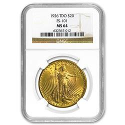 1926 $20 Saint-Gaudens Gold Double Eagle MS-64 NGC (TDO FS-101)