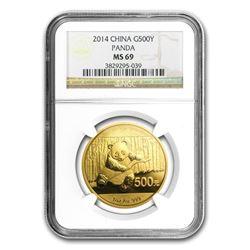 2014 China 1 oz Gold Panda MS-69 NGC