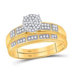 10kt Yellow Gold Princess Diamond Cross Pendant 1/20 Cttw