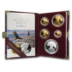 1995-W 5-Coin Proof American Eagle Set (10 Anniv\, Box & COA)
