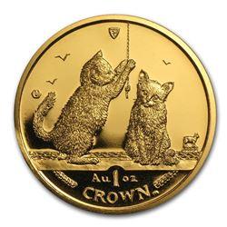 2001 Isle of Man 1 oz Gold Somali Kittens BU