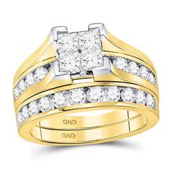 14kt Yellow Gold Round Diamond Inside Outside Hoop Earrings 2.00 Cttw