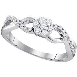 10kt White Gold Round Diamond Solitaire Bridal Wedding Engagement Ring 3/8 Cttw