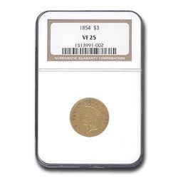 1854 $3 Gold Princess VF-25 NGC