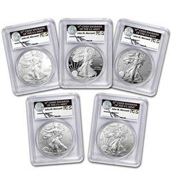 2011 5-Coin Silver Eagle Set MS/PR-70 PCGS (FS\, Mercanti\, 25th)