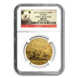 2013 China 1 oz Gold Panda MS-70 NGC (ER)