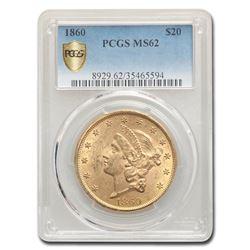 1860 $20 Liberty Gold Double Eagle MS-62 PCGS