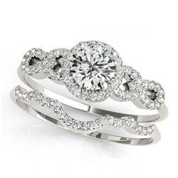 1.60 ctw VS/SI Diamond 2pc Wedding Set Halo 14K Yellow Gold