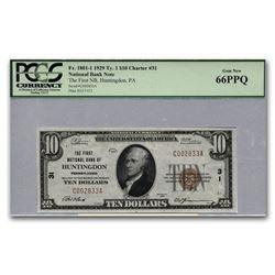 1929 Type 1 $10 Huntingdon\, PA Gem New-66 PPQ PCGS (Low CH#31)