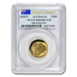 2010-P Australia 1 oz Gold Koala PR-69 PCGS (FS\, High Relief)