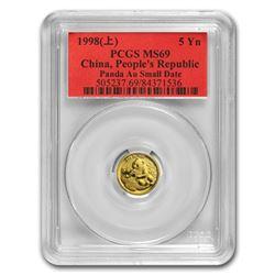 1998 China 1/20 oz Gold Panda MS-69 PCGS (Small Date)