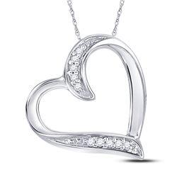10k White Gold Round Diamond 2-tone Double Heart Pendant 1/2 Cttw