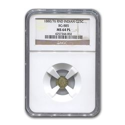 1880/76 Indian Round 25¢ Gold MS-64 NGC (PL\, BG-885