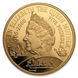 2000 Great Britain Gold £5 The Queen Mother Proof (w/Box & COA)