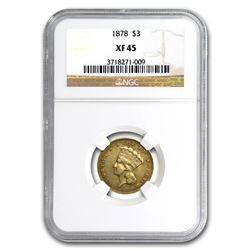 1878 $3 Gold Princess XF-45 NGC